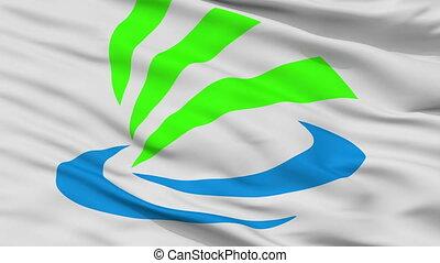 Closeup Kaizu city flag, prefecture chapter, Japan - Kaizu...