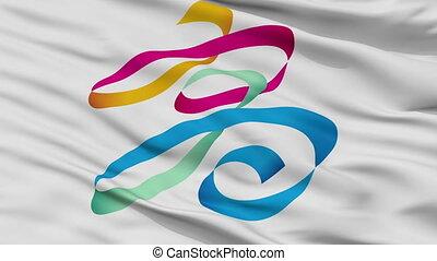 Closeup Kaohsiung city flag, China - Kaohsiung closeup flag,...