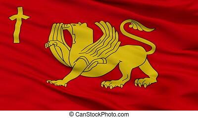 Closeup Kaspi Municipality flag, Georgia