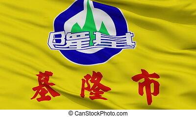 Closeup Keelung city flag, China - Keelung closeup flag,...