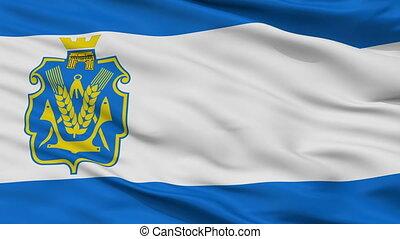 Closeup Kherson Oblast flag, Ukraine - Kherson Oblast...