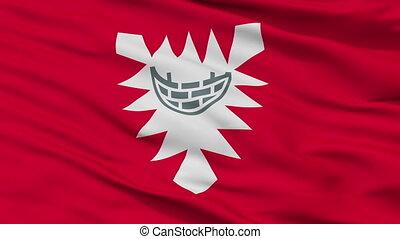 Closeup Kiel city flag, Germany - Kiel closeup flag, city of...