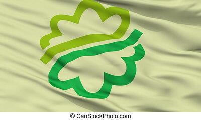 Closeup Kikugawa city flag, prefecture Shizuoka, Japan -...