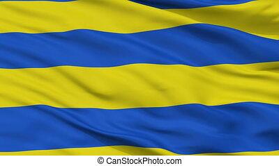 Closeup Kilingi Nomme Parnu County city flag, Estonia -...