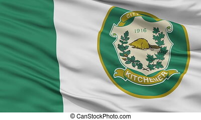 Closeup Kitchener city flag, Canada - Kitchener closeup...