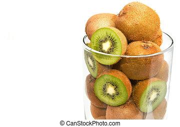 Closeup kiwi fruit in the glass bowl on white background