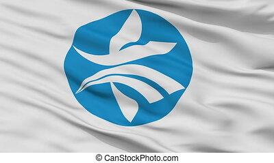 Closeup Kizugawa city flag, prefecture Kyoto, Japan - ...