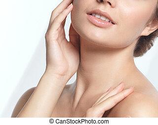 closeup kobieta, piękno, młody, portret, twarz