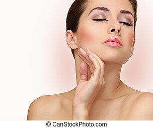 closeup kobieta, piękno, twarz, skin., zdrowie, portret