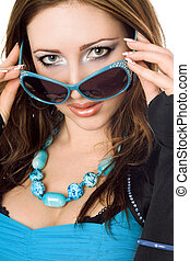 closeup kobieta, sunglasses, młody, portret