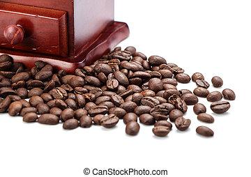 closeup, koffie grinder, boon, fris