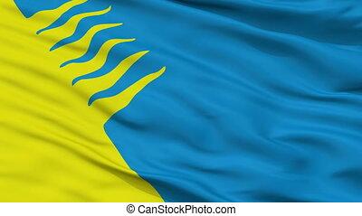 Closeup Kohtla Jarve city flag, Estonia - Kohtla Jarve...