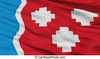 Closeup Kommunar city flag, Russia - Kommunar closeup flag,...