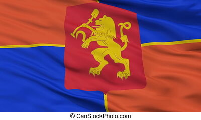 Closeup Krasnoyarsk city flag, Russia - Krasnoyarsk closeup...