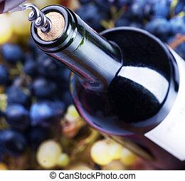 closeup, láhev, víno