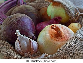 closeup, légumes, burlap, racine