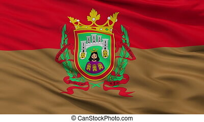 Closeup La ciudad Burgos city flag, Spain - La ciudad Burgos...