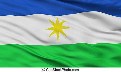Closeup La Estrella city flag, Colombia - La Estrella...