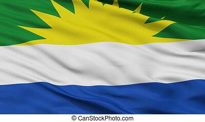 Closeup La Gloria city flag, Colombia