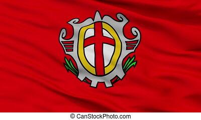 Closeup Labina city flag, Croatia - Labina closeup flag,...