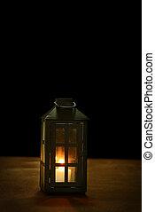 lantern on wood