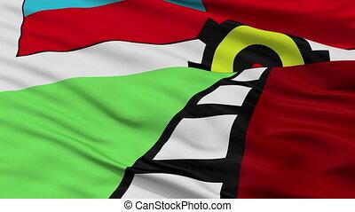 Closeup Lanus city flag, Argentina