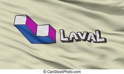 Closeup Laval city flag, Canada - Laval closeup flag, city...
