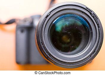 closeup, lens., macchina fotografica
