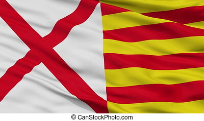 Closeup LHospitalet Llobregat city flag, Spain - LHospitalet...