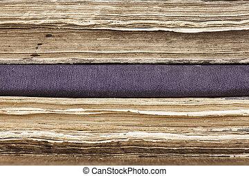 closeup, libri, vecchio, pila, fondo