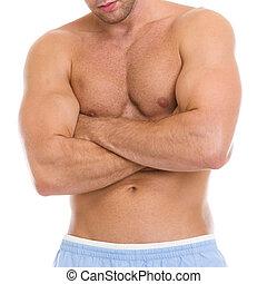 closeup, ligado, atleta masculino, mostrando, músculos, de, torso, e, bíceps