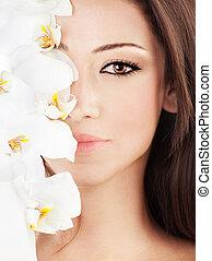 closeup, ligado, face bonita, com, flores