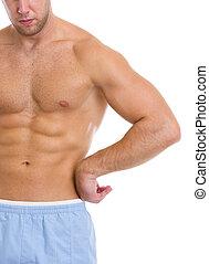 closeup, ligado, forte, músculos abdominais