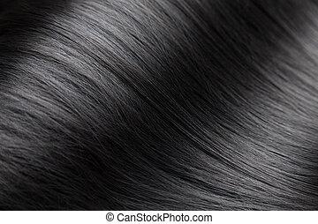 closeup, ligado, luxuoso, lustroso, cabelo preto