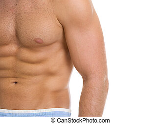 closeup, ligado, músculos abdominais