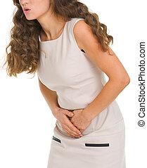 closeup, ligado, mulher, tendo, dor estômago