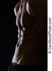 closeup, ligado, muscular, macho, torso, com, músculos abdominais, ligado, pretas