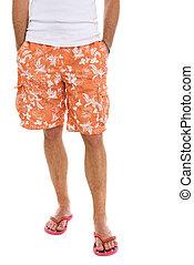 closeup, ligado, pernas, de, macho, em, shorts, e,...