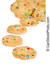 Closeup line of candy cookies