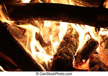 closeup log fire