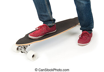 Closeup Longboard isolated on white