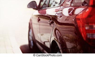 closeup luxury sport car on the road