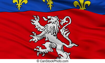Closeup Lyon city flag, France - Lyon closeup flag, city of...