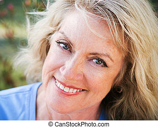 closeup, mûrir, beauté, -, portrait, blonds