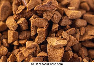 Closeup macro of instand freeze-dried coffee