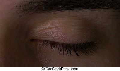 Closeup macro of man eye opening in slow motion