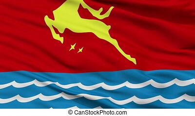 Closeup Magadan city flag, Russia - Magadan closeup flag,...