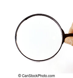 closeup. magnifier in the hand of businessman.