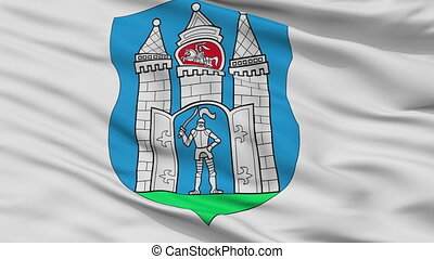 Closeup Mahilou city flag, Belarus - Mahilou closeup flag,...