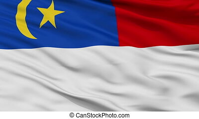 Closeup Malacca city flag, Malaysia - Malacca closeup flag,...